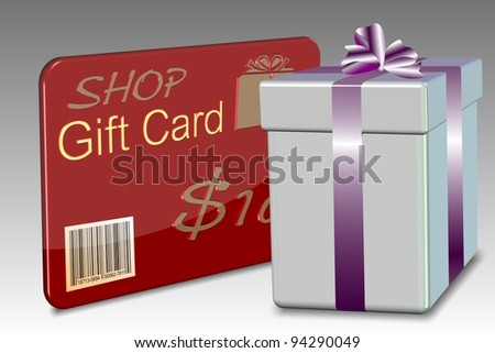 An illustration of a gift card with a nicely wrapped present box / Gift card