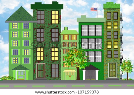 "An illustration of a green city block, representing ecological sustainability through plantings, recycling programs, upgrading buildings for more effective use of energy and other ""green"" methods."