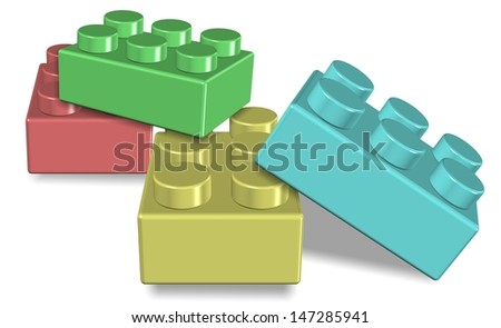 An illustration of a group of colorful toy building blocks / Toy building blocks