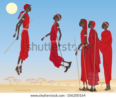 an illustration of a group of dancing masai men dressed in traditional clothing with jewelery and canes in an east african landscape under a blue sky - stock photo