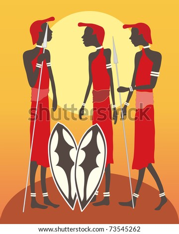 an illustration of a group of masai warriors talking in front of an african sunset