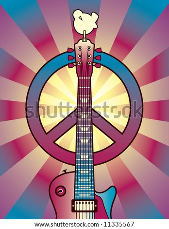 An illustration of a guitar, peace symbol and dove dedicated to the Woodstock Music and Art Fair of 1969. Vector also available.