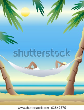 an illustration of a hammock tied between two palm trees with a woman relaxing in front of a sunny ocean