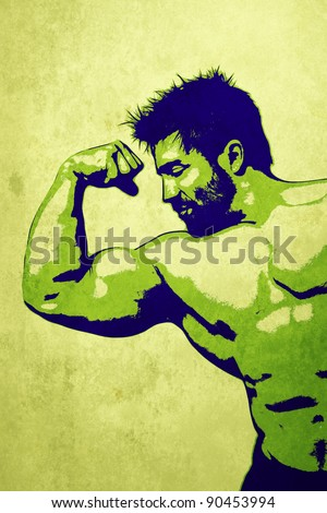 An illustration of a handsome young muscular sports man