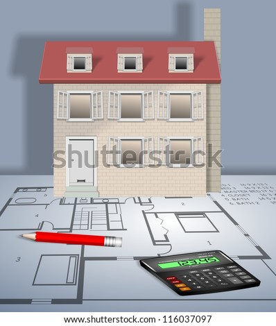 An illustration of a house placed on a blueprint / New house planning