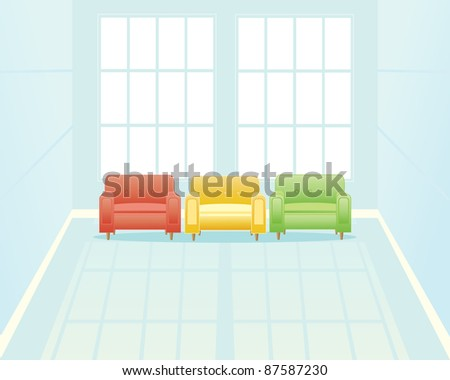 an illustration of a light blue waiting room with three comfortable chairs near two tall windows