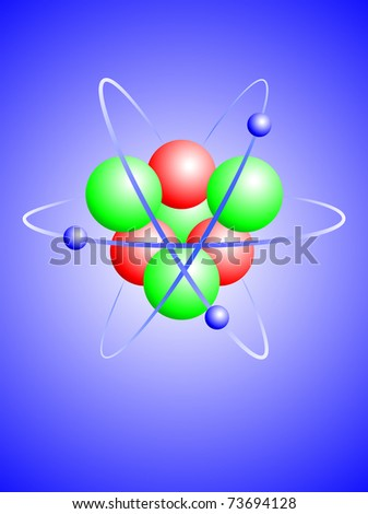 An Illustration Of A Lithium Atom With A Nucleus Of Four ...