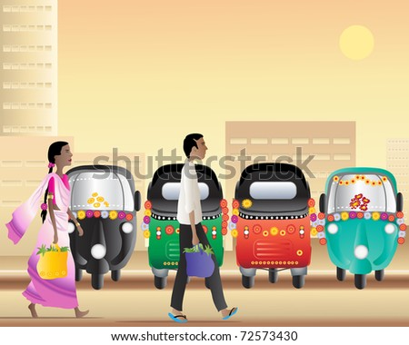 an illustration of a man and a woman walking past a tuk tuk taxi park in a large asian city at sundown