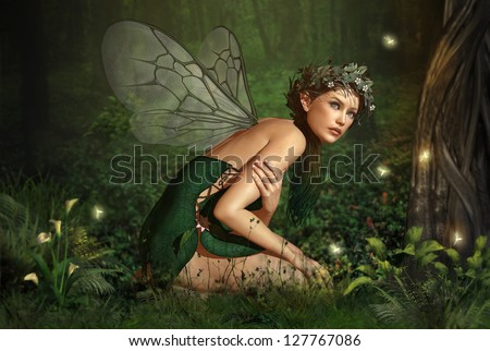 an illustration of a nymph who lives in the forest