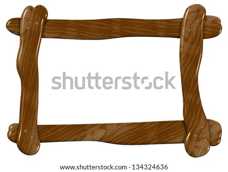 An illustration of a roughly made wooden frame / Wooden frame