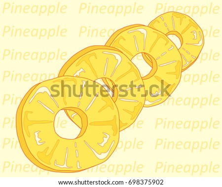 an illustration of a row of pineapple ring slices on a yellow background with italic typeface
