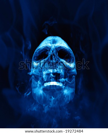 An illustration of a scull in blue flames