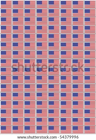 An illustration of a sheet of stamps with the USA flag.