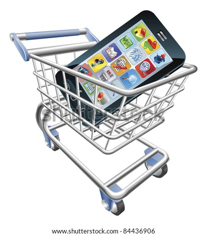 An illustration of a shopping cart trolley with smart phone mobile phone - stock photo