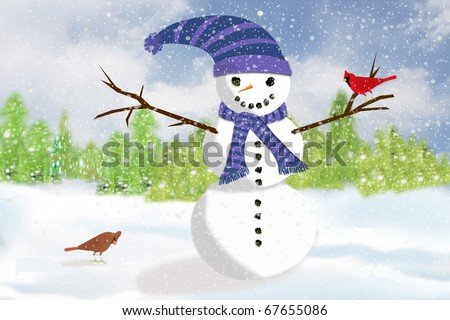 An Illustration of a snowman standing in the  while a pair of cardinals flit around checking out the newcomer.