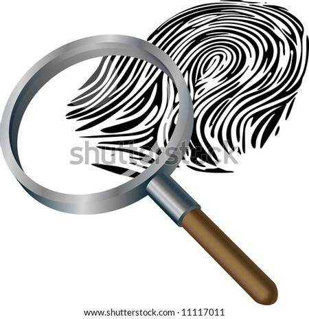 An illustration of a spyglass magnifying a fingerprint - stock photo