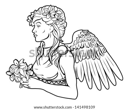 An illustration of a stylised black angel woman perhaps an angel tattoo - stock photo