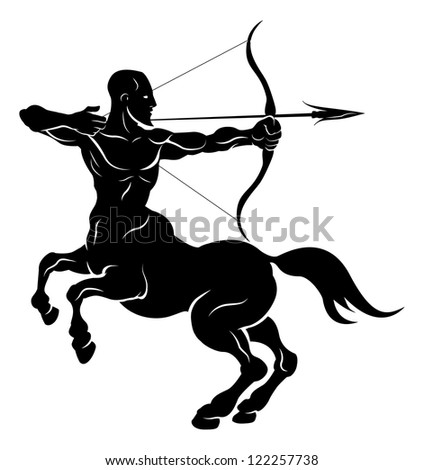 An illustration of a stylised black centaur archer perhaps a centaur archer tattoo