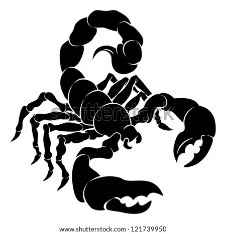 An illustration of a stylised black scorpion perhaps a scorpion tattoo