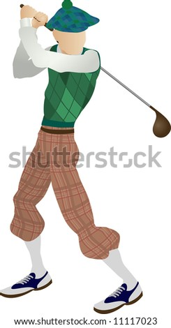 An illustration of a stylised classic golfer teeing off