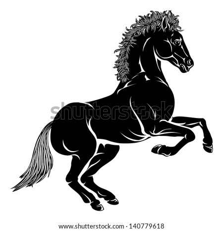 An illustration of a stylised horse perhaps a horse tattoo