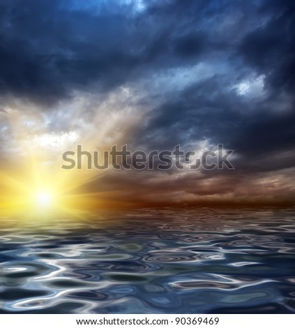 an illustration of a sunrise or sunset in the sea or ocean - stock photo