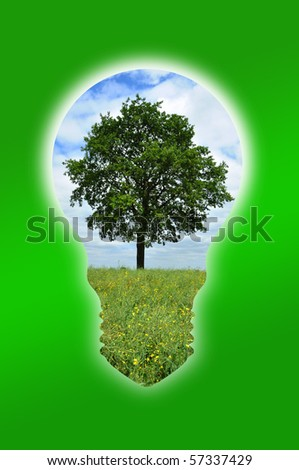 An illustration of a tree into a light bulb for environmental concept - stock photo