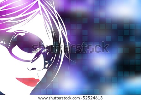 An illustration of a woman's face over a blue digital background with square shapes.