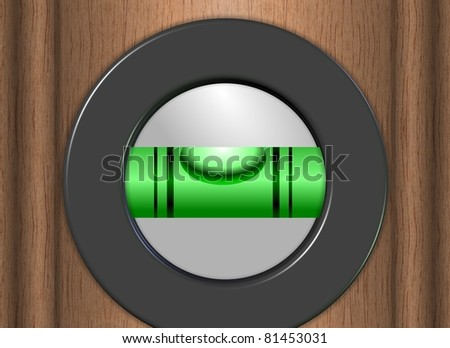 An illustration of a wooden spirit level with a green tube / Spirit level