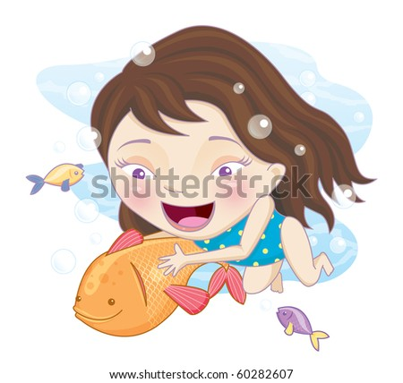 An illustration of a young girl wearing a bathing suit and swimming underwater with fish