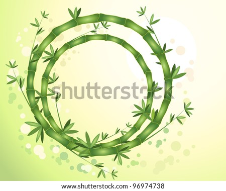 an illustration of abstract circular bamboo stems with green leaves on a sunny yellow green background