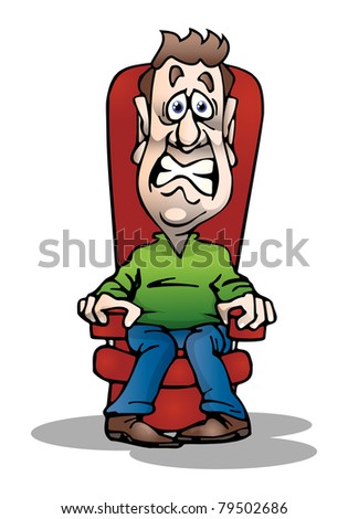 an illustration of an adult afraid businessman sit on couch on isolated  white background