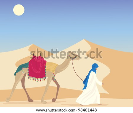 an illustration of an arabic man leading a camel through a desert landscape with sand dunes under a blue sky