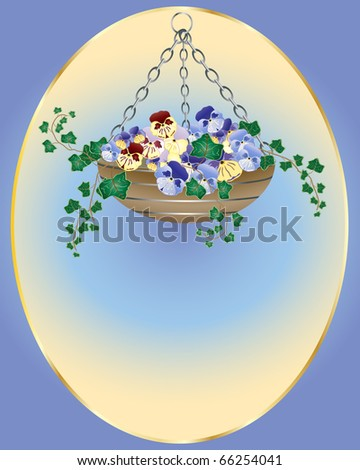 an illustration of an easter hanging basket with pansy flowers and ivy