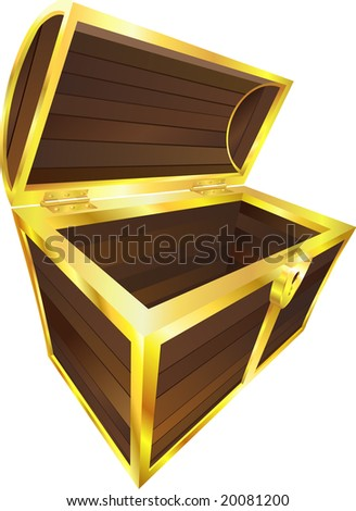An illustration of an empty wooden treasure or pirate chest