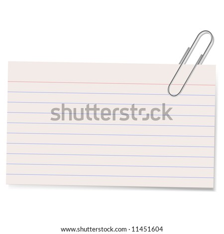 An illustration of an index card held by a paper clip casting a soft shadow. Good blank stationary element.