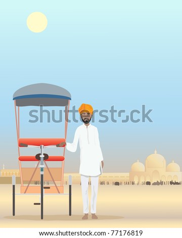 an illustration of an indian rajput man in traditional dress standing by his cycle rickshaw in a dusty city under a hot sun