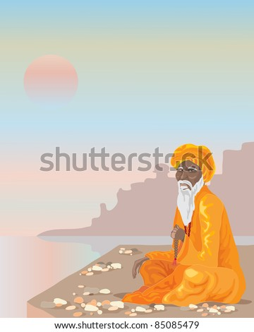 an illustration of an indian sadhu sitting crossed legged by the river ganges under a sunset sky