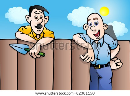 an illustration of an man couple stopping to talk while gardening on blue sky background