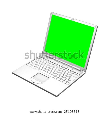 An illustration of an open laptop computer. The screen is uniform green to make it easier to mask out and replace with your own image. 3D object created especially for this series of illustrations. - stock photo