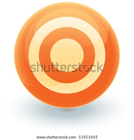 An illustration of an orange target icon for use as a website button or design element.
