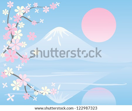 an illustration of an oriental landscape with snow capped mountain reflected in still water with branches of blossom under a pink setting sun