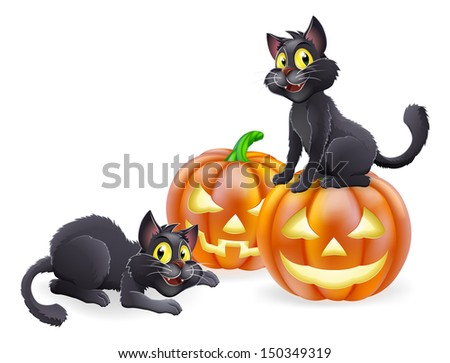An illustration of cartoon Halloween black witch cats and Halloween pumpkins