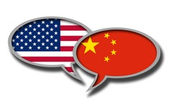 An illustration of Chinese and American flag speech bubbles isolated in the white background