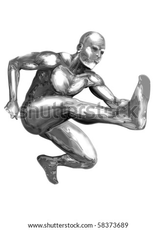An illustration of chrome man figure are jumping