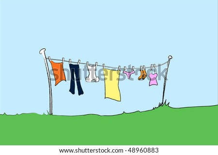An illustration of female clothing hanging out to dry