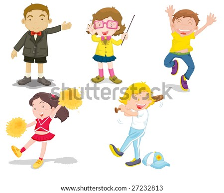 An illustration of five children doing differnt activities