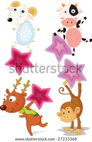 an illustration of four differnt animals with stars