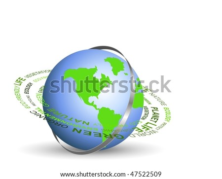 An illustration of Go green concept with globe and metal ring