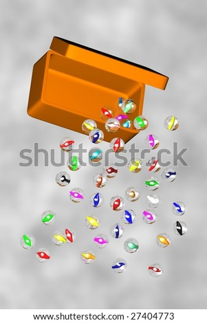 An illustration of marbles tumbling from a box in mid air #27404773